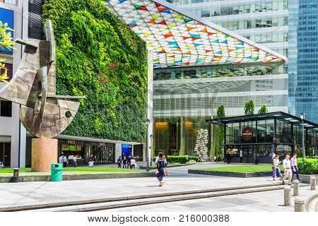 Scenic Entrance To The Ocean Financial Centre In Singapore