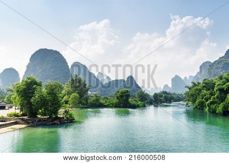 Beautiful View Of The Yulong River With Azure Water, China