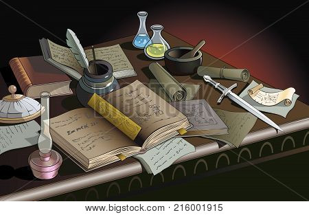 Table of alchemist or wizard with many objects, vector illustration