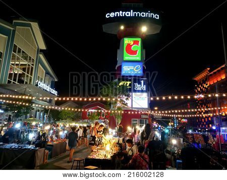 Pattaya Chonburi Thailand July 2017 : Night market for Thais and foreigners at CentralMarina Pattaya