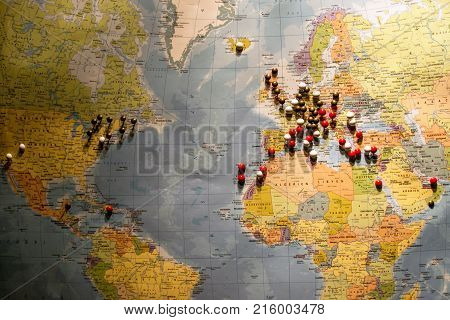 Picture Of World Map Travel Concept With Many Pushpins Spherical Pins