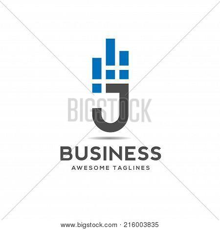 creative Letter J data logo design template elements, j letter business best logo design, alphabet logo design