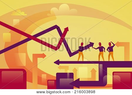 Abstract Business People On Arrows Up Background Financial Success Concept Vector Illustration