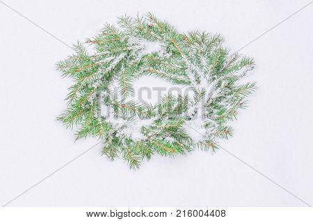 Snowy Frosted Christmas Wreath. Wreath Of Fir Branches.