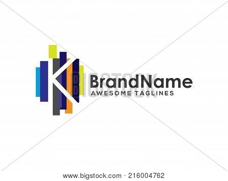 letter k logo with colorful paint stripes, Letter k logo colorful strips design template elements. Logo initial letter k Business corporate
