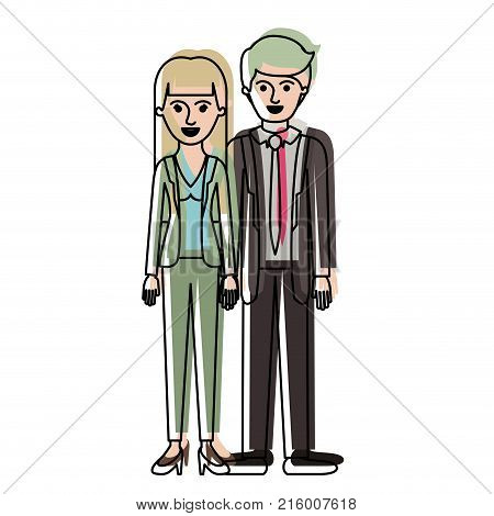 couple in watercolor silhouette and her with blouse and jacket and pants and heel shoes with straight long hair and him with suit and tie and pants and shoes with short hair vector illustration
