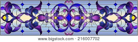 Illustration in stained glass style with abstract swirls flowers and leaves horizontal orientation