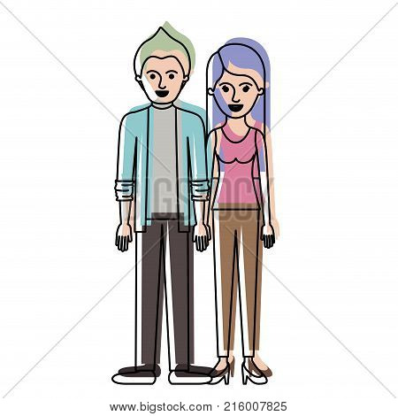 couple in watercolor silhouette and him with shirt and jacket and pants and shoes with short hair and her with t-shirt sleeveless and pants and heel shoes with long straight hair vector illustration