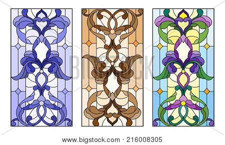 Set of illustrations of stained glass with abstract swirls and flowers vertical orientation