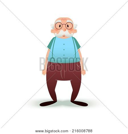 Funny cartoon old man character. Senior in glasses and with a mustache. Grandfather illustration isolated on white background. Elder man in pants on suspenders