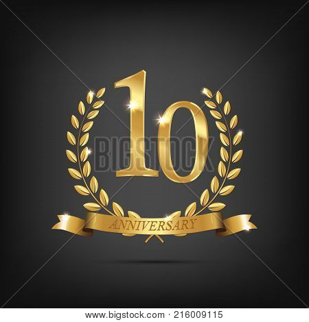 10 anniversary golden symbol. Golden laurel wreaths with ribbons and tenth anniversary year symbol on dark background. Vector anniversary design element