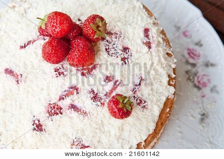 Sponge Cake With Strawberry Cream.