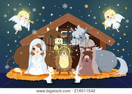 cartoon Christmas Nativity Scene with baby Jesus