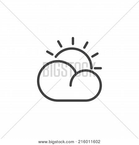Cloud and sun line icon, outline vector sign, linear style pictogram isolated on white. Partly cloudy day weather symbol, logo illustration. Editable stroke