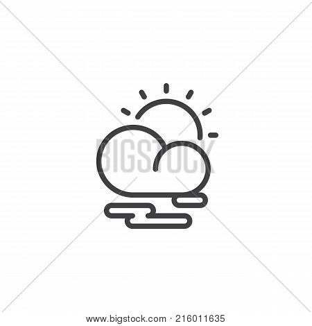 Partly cloudy weather line icon, outline vector sign, linear style pictogram isolated on white. Cloud sun and mist symbol, logo illustration. Editable stroke