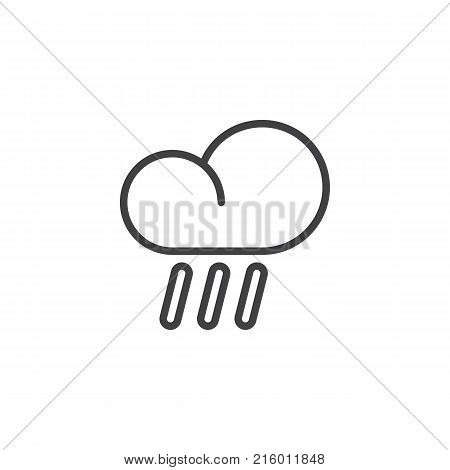 Heavy rain and cloud line icon, outline vector sign, linear style pictogram isolated on white. Rainy cloud weather symbol, logo illustration. Editable stroke