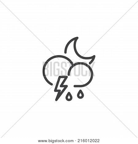 Cloud thunderstorm lightning rain line icon, outline vector sign, linear style pictogram isolated on white. Night stormy weather symbol, logo illustration. Editable stroke