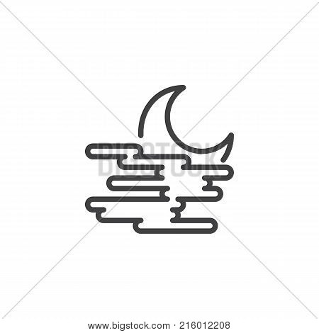 Crescent moon and fog line icon, outline vector sign, linear style pictogram isolated on white. Misty foggy night weather symbol, logo illustration. Editable stroke