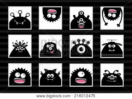 Black monster head big set. Cute cartoon scary silhouette character. Baby collection. White background. Isolated. Happy Halloween card. Flat design. Vector illustration.