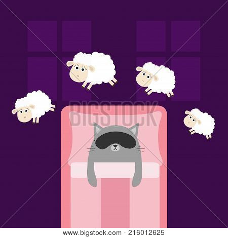 Cute gray cat sleeping mask. Jumping sheeps. Cant sleep going to bed concept. Counting sheep. Animal set. Blanket pillow room two windows. Baby collection. Flat design. Violet background. Vector