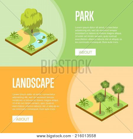 Park landscape design isometric posters. Green alley with grass, bushes, trees and park lake. Public parkland zone with decorative plants, outdoor natural area recreation vector illustration.