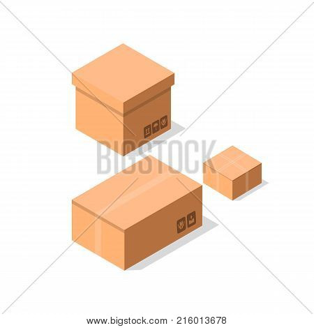 Empty brown cardboard boxes icon set. Delivery tare, goods package collection vector illustration isolated on white background in flat style.