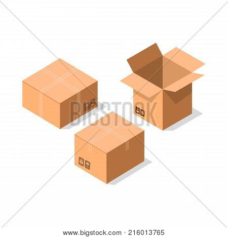 Delivery tare icon set. Shipping cardboard boxes, goods package collection vector illustration isolated on white background in flat style.