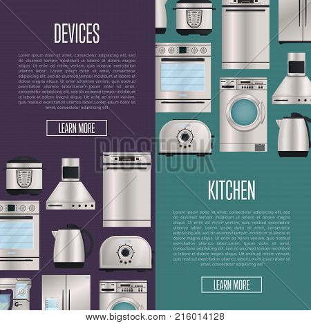 Kitchen automatic household devices posters. Electronic houseware technics shopping. Refrigerator, washing machine, toaster, electric kettle, air extractor, oven, multi cooker, kitchen mixer.