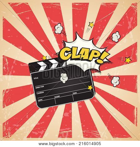 Clapperboard with Clap word on vintage striped pop art background. Vector retro cinema illustration