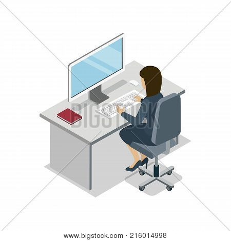 Woman working at computer isometric 3D icon. Busy business people in office, company professional occupation vector illustration.