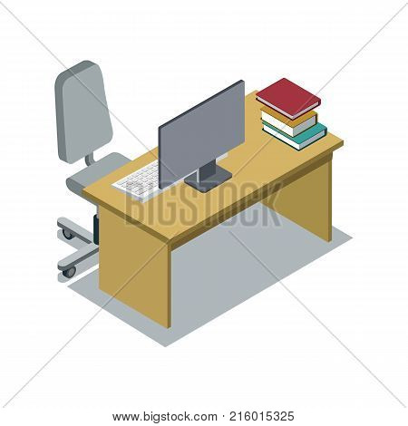 Classroom desk with textbooks and computer monitor 3d isometric icon. Primary school education vector illustration.