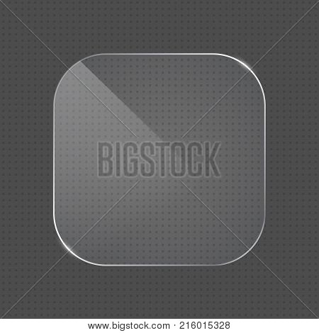 Vector realistic rounded corners square shape glass frame on transparent background. Glass element for banner design advertising web