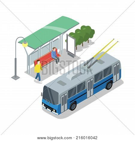 Trolleybus stop isometric 3D icon. City public transport, modern town waiting station, urban and countryside traffic concept with vehicle vector illustration.