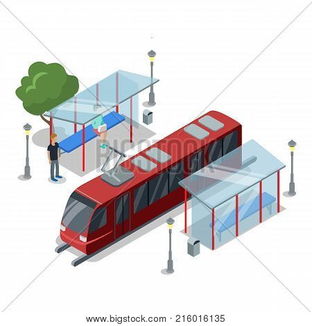 Tramway stop isometric 3D icon. City public transport, modern town waiting station, urban and countryside traffic concept with vehicle vector illustration.