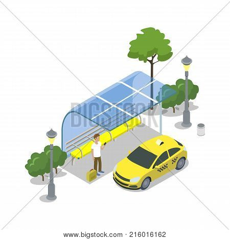 Taxi cab stop isometric 3D icon. City public transport, modern town waiting station, urban and countryside traffic concept with vehicle vector illustration.