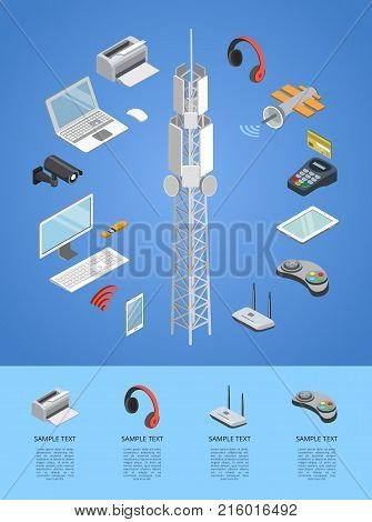Wireless technologies isometric 3D infographics with tv tower, laptop, space satellite, tablet PC, usb drive, gamepad, headphones, wifi router, pos terminal. Gadgets and devices vector illustration.