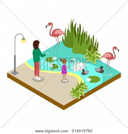 Cage with flamingos isometric 3D icon. Public zoo with wild animals and people, zoo infrastructure element for design vector illustration.