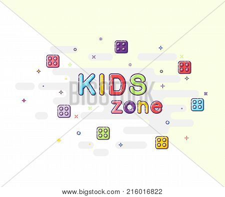 Kids zone sign in mbe design style. Vector Kids Zone text on sparkling background