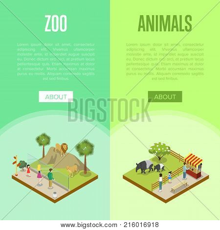 Public zoo with wild animals and visitors isometric posters. People near cages with tapirs and lions. Zoo infrastructure design elements, wildlife concept, outdoor recreation vector illustration