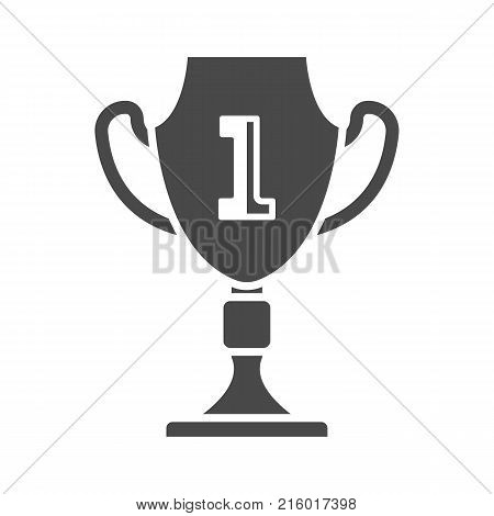 First place cup icon isolated on white background. Champion award label, winner winner competition sign, trophy prize symbol, success and victory vector illustration