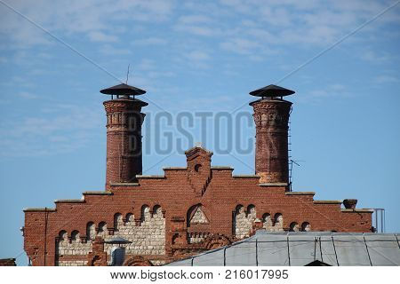 The Old building roof trumpet sky brick