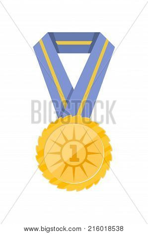 First place golden medal with blue ribbon isolated on white background. Champion achievement medallion, award ceremony label, victory prize sticker, winner trophy vector illustration.