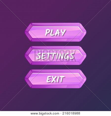 Purple board for game menu interface. Play, settings and exit buttons. Bright user options selection, windows panel vector illustration