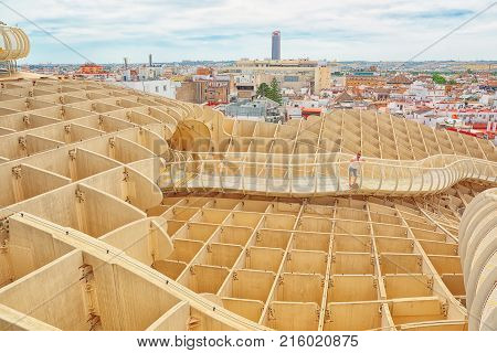 Panoramic View Of The Seville From The Observation Platform Metropol Parasol, Also Known As Las Seta