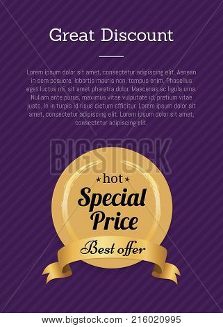 Great discount special price best offer hot golden label with round seal made of gold and ribbon with text vector illustration isolated on checkered purple