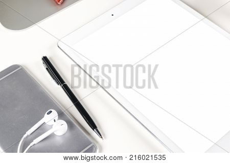 Tablet computer PC with blank screen mock up. Tablet computer isolated white screen. Tablet white screen with copy space. Empty space for text. Blank empty screen. Copy Space for text. Isolated white screen