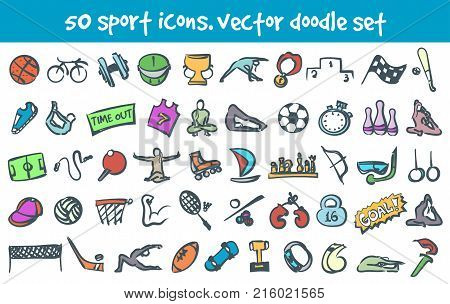 Vector doodle sport icons set. Stock cartoon signs for design.