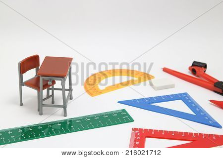 School supplies used in math class, geometry or science.  Mathematics geometry tool for student in math class on white background. Mathematics concept.