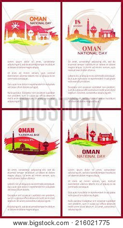 Oman national day set of posters with mosques and flags, text sample that give additional information on topic on vector illustration
