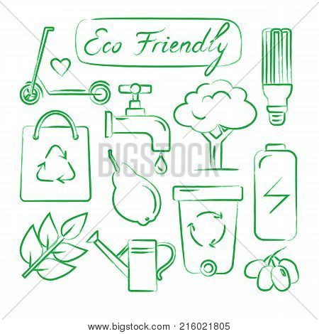 Collection of ecology icons in sketch style. Eco Friendly lettering. Hand drawn ecological symbols isolated on white background.
